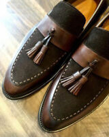 Mens Handmade Shoes Brown Suede & Leather Tassels Moccasins Loafer Formal Boots