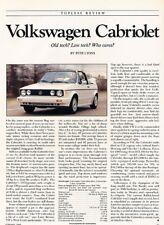 1989 Volkswagen Cabriolet Rabbit Original Car Review Report Print Article J892