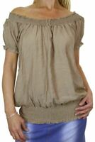 Womens Off Shoulder Top Short Sleeve Loose Boho Tunic Beige 8-12 CLEARANCE