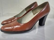 EVINS Solier Womens High Heel Shoes. Size 7 AA narrow. Brown Leather Italy. pump