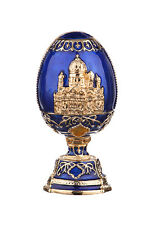 Russian Faberge Egg Christ the Saviour Cathedral Moscow 2.8'' (7cm) blue