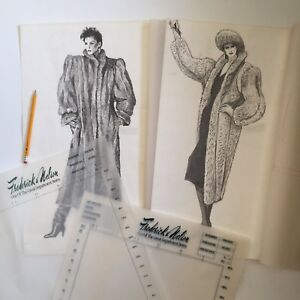 Two Vintage1980s Fashion Illustrations Fur Coats Frederick & Nelson Seattle