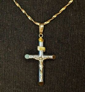 "Solid 14k White & Yellow Gold Crucifix Pendant w/ 14k Yellow Gold 18"" Chain"