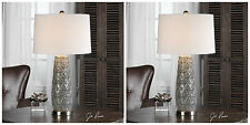 "TWO CORTINADA 27"" EMBOSSED CERAMIC TABLE LAMPS BRUSHED NICKEL METAL UTTERMOST"