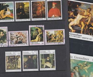 Grenada 1988-92 Used FU Full Sets Minisheets Art Titian Granada Rubens Paintings