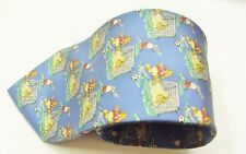 Breuer Blue With A Cartoon Bears Football Design Silk Tie