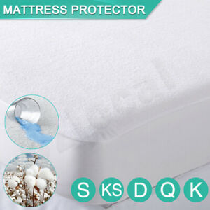 All Size Fully Fitted Terry Cotton Waterproof Mattress Protector Bed Soft Cover