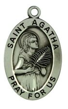 Saint St Agatha Pray For Us Pendant 1 1/16 Inch Sterling Silver Medal