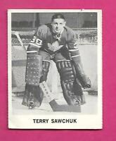RARE 1965-66 COCA COLA LEAFS TERRY SAWCHUK  GOALIE  CARD (INV# C6947)