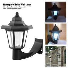 Durable Solar Power Wall Mount White LED Light Outdoor Garden Walkway Yard Lamp