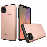 Slide Card Slot Wallet Case ShockProof Armor Cover For iPhone X XR XS 11 Pro Max