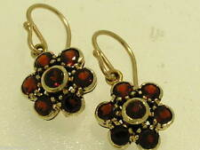 E116- EXQUISITE Genuine 9ct Gold NATURAL GARNET Blossom Flower Drop Earrings