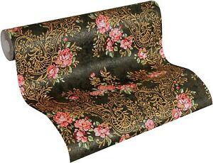 34075-1-) 6 Rollen schwere Vliestapeten Blumen Design schwarz gold grün rot