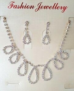 Bridal Party Necklace & Earrings Jewellery Set Silver Colour With Rhinestones