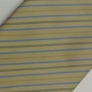 Beige Blue Striped Self Tipped UNGARO Silk Tie
