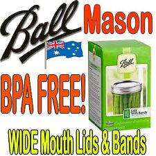 12 x Ball Mason Preserving Canning Wide Mouth Lids and Bands