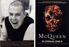 McQUEEN FILM POSTCARDS X 2 - ALEXANDER McQUEEN FASHION DESIGNER