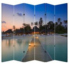 6 Panel 6ft Tall Canvas Double Side Folding Screen Divider- Cabana By Pier