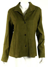 PETER COHEN Army Green Suede Leather Wooden Button-Front Jacket L