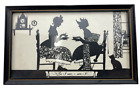 So I Sez primitive framed silhouette w/ two ladies and cat