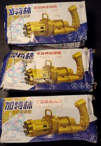3pcs Gatling Bubble Machine Bubbler Maker Kids Automatic Bubble Blowing Toy Gun