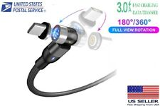Magnetic Fast Charging Cable Type-C Micro USB Lightning 360+180° Universal  3A