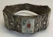 c.1920s CHINESE EXPORT Sterling Filigree & Etched Polychrome Scrimshaw Bracelet