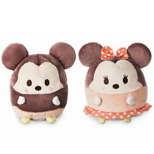 "New Disney Ufufy Mickey and Minnie Mouse Small 4-1/2"" Plush Set of 2 with tags"