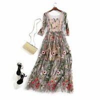 Embroidery Dress Runway Floral Flower Embroidered Vintage Boho Mesh Dresses New