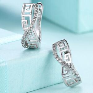 Genuine Crystals Stainless Steel Silver Gold Loop Hoop Earrings