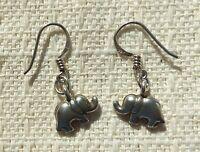 Elephant Sterling Silver Earrings Vintage Pierced Dangling w 925 Earwires
