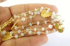"Rainbow Moonstone Beads Brass 18K Gold Overlay 18"" Necklace Strand Chain"