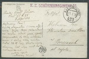 AUSTRIA WWI MILITARY MAIL POLISH SOLDIER 35TH FOOT REGIMENT 2/21/18 PC AS SHOWN