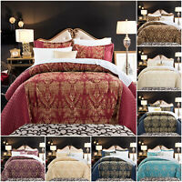 Quilted Bedspread Throw Jacquard Bedding Set with Pillow Shams Double King Size