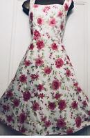 Vintage Dressbarn  Fit & Flare Dress Uk 10 Cream Roses Pink Rockabilly 50s
