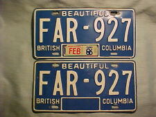 2 Matching 1982 British Columbia, Canada License Plates with -EXPO 86- Decal