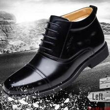 Men leather High Top winter warm fur lined Military Boot Cuban Heel Formal Shoes