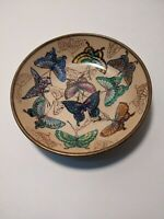"""Vintage Brass Covered Ceramic Bowl Wall Art Hand Painted Butterflies 5"""""""