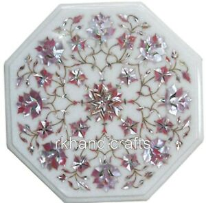 12 Inches Marble Coffee Table Top Inlay Pink Mother of Pearl Work Side Table Top