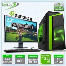 Fast Gaming PC + Monitor Bundle Windows 10 Desktop Computer  8GB RAM 1.5 TB HDD