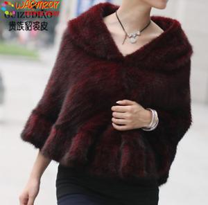 Handmade Knitted Genuine Mink Fur Stole Cape Shawl Scarf Coat Ladies Fur clothin
