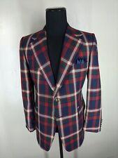 Johnny Carson Vintage Usa 1970's Wool Blazer 2 Btn Center Vent Fit 42-44 Long