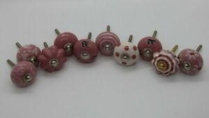 "Set of 10 Ceramic Knobs/Drawer Pulls/Handles, Purple, 1-3/8"" Screw Length"