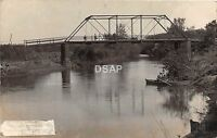 C81/ Blue Earth Minnesota Mn Real Photo RPPC Postcard 1909 River Bridge Boat