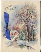 VINTAGE CHRISTMAS  RED HOUSE STREAM SQUIRRELS EVERGREEN TREES FLAW GREETING CARD