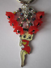 Keyring / Bag Charm - Vintage Style Betty Boop with Red Poppies