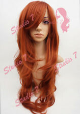 W9 Copper Red Extra Long Synthetic Ladies Wig Layered Natural Wavy studio7-uk