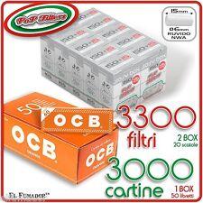3300 Filtri POP FILTERS SLIM 6mm RUVIDI no rizla - 3000 Cartine OCB ORANGE CORTE