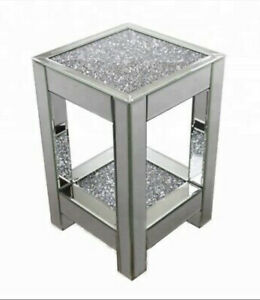 Sparkly Ornamental Decorative End Side Table Crushed Diamond Crystal Mirror✨