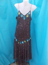 LADIES BROWN PURE SILK & BEADED & SEQUINNED STRETCH EVENING DRESS-SZ 10-12 VGC